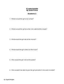 If I Were Invisible by Sarah Prince Reading Comprehension Questions