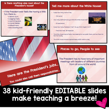 If I Were President EDITABLE GOOGLE SLIDES Show! Perfect for President's Day