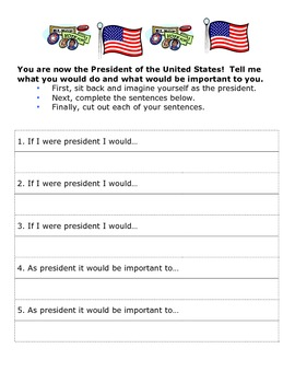 If I Were President Worksheet - Social Studies Government Project