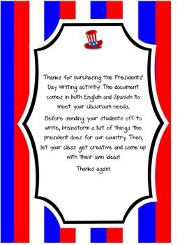 If I Were President (Writing Activity) ~ Spanish & English