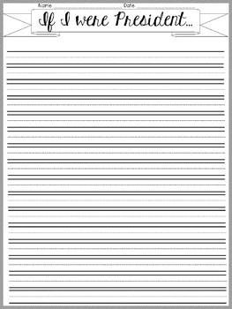 If I Were President writing page (blank)
