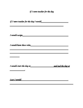 If I Were Teacher For a Day Creative Writing