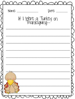 If I Were a Turkey on Thanksgiving Writing Paper