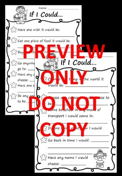 If I Could ... Back to School or End of Year Fun, Printable Worksheet