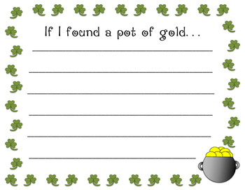 If I found a pot of gold writing prompt