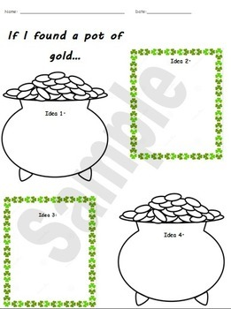 If I found a pot of gold... writing prompt St. Patrick's Day Activity (Updated)