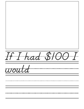 If I had $100- 100th Day Writing Activity