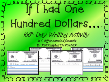 If I had $100 one hundred dollars 100th Day Writing Differ