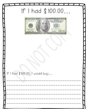 If I had $100 writing paper