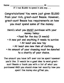 If I had $1000 I would. . .