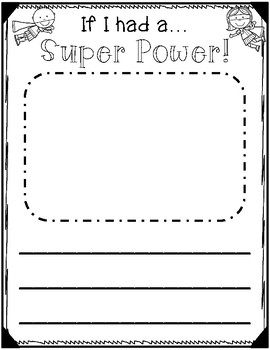 If I had a super power... Superhero Differentiated Writing Prompt