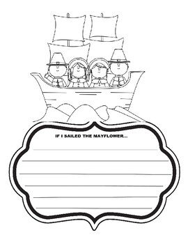 If I sailed the mayflower writing prompt thanksgiving art coloring page