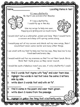 """""""If I was a Butterfly"""" Shared Reading"""