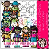 If I were a Superhero clip art - LINE ART- Melonheadz clipart