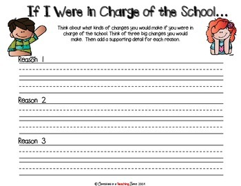 If I Were in Charge of the School - A Response to Reading and Writing Prompt
