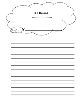 If It Rained ______ Writing Prompt Paper