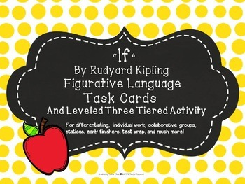 """If"" Poem Figurative Language Task Cards -Differentiated Tiered Activity"