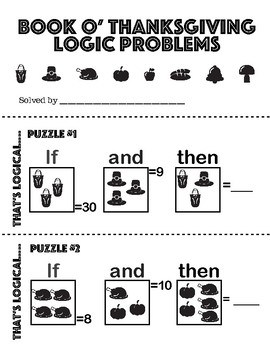 Thanksgiving Themed Number Logic Puzzle Booklet AND DIY! L@@K!