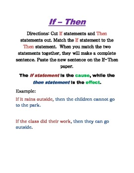 If - Then Statements: Cause and Effect Practice