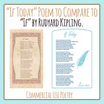 """If Today: Poem Compare and Contrast to """"If"""" by Rudyard Kipling - Commercial Use"""