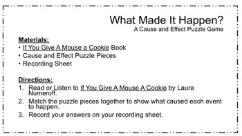 If You Give A Mouse A Cookie Picture Book Unit