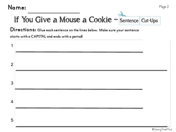 If You Give A Mouse A Cookie - Vocabulary Cards and Sentence Builder