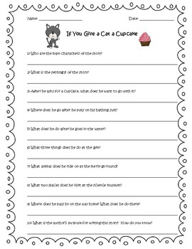 If You Give a Cat a Cupcake by Laura Numeroff Reading Comprehension Questions