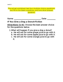 If You Give a Dog a Donut Comprehension Questions (Written by Laura Numeroff)