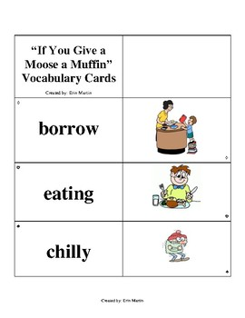 If You Give a Moose a Muffin Vocabulary Cards