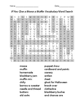 If You Give a Moose a Muffin Vocabulary Word Search