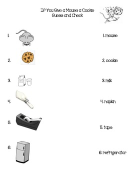 If You Give a Mouse a Cookie Vocabulary Activity