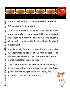 If You Give a Pig a Pancake Snack Visual Support Bilingual English/Spanish