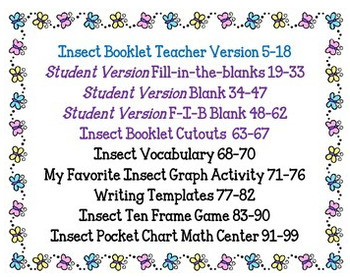 Spring Activities: Insects Activity packet