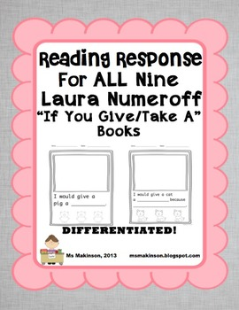 """""""If You Give/Take A"""" by Laura Numeroff - Reading Response"""