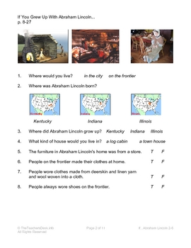 If You Grew Up With Abraham Lincoln Comprehension Worksheets