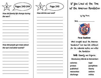 If You Lived at the Time of the American Revolution Trifold - Imagine It 5th Gr