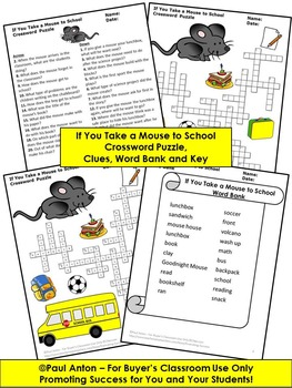 If You Take a Mouse to School Crossword Puzzle Back to School Activities