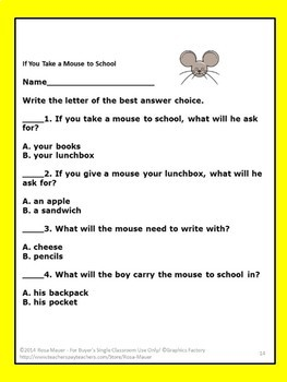 If You Take a Mouse to School Literacy Task Cards