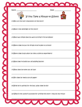 If You Take a Mouse to School by Laura Numeroff Reading Comprehension Questions