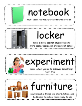 If You Take a Mouse to School by Laura Numeroff Vocabulary Cards