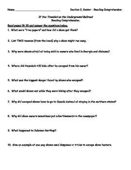 If You Traveled on the Underground Railroad (Levine) - Comprehension Questions