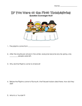 If You Were at the First Thanksgiving Book (Question Scavenger Hunt)