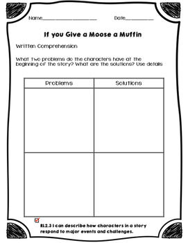 If you Give a Moose a Muffin- Written Comprehension