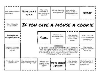 If you Give a Mouse a Cookie Comprehension Game Board
