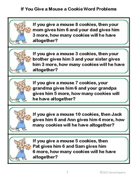 If you Give a Mouse a Cookie Word Problems
