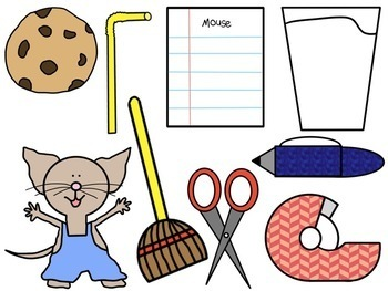 If you Give a Mouse....  Stick Puppets & Magnetic Board Pieces: Back to School