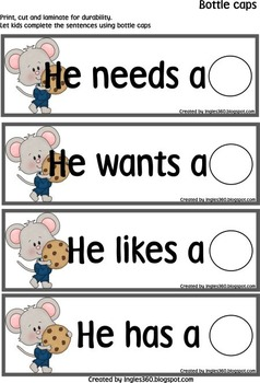 If you Give a Mouse a Cookie - Bottle Caps & Sentences