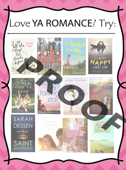 If you like YA Romance, try ___________  Book Recommendation Poster
