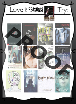 If you love Thirteen Reasons Why, try ________ Book Recommendation Poster