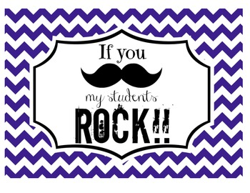 """If you (mustache), my students ROCK!"" Sign (Navy Chevron)"